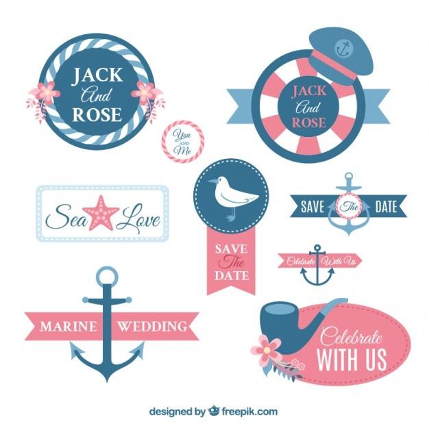 Nautical wedding labels design