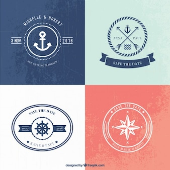 Nautical wedding logo templates