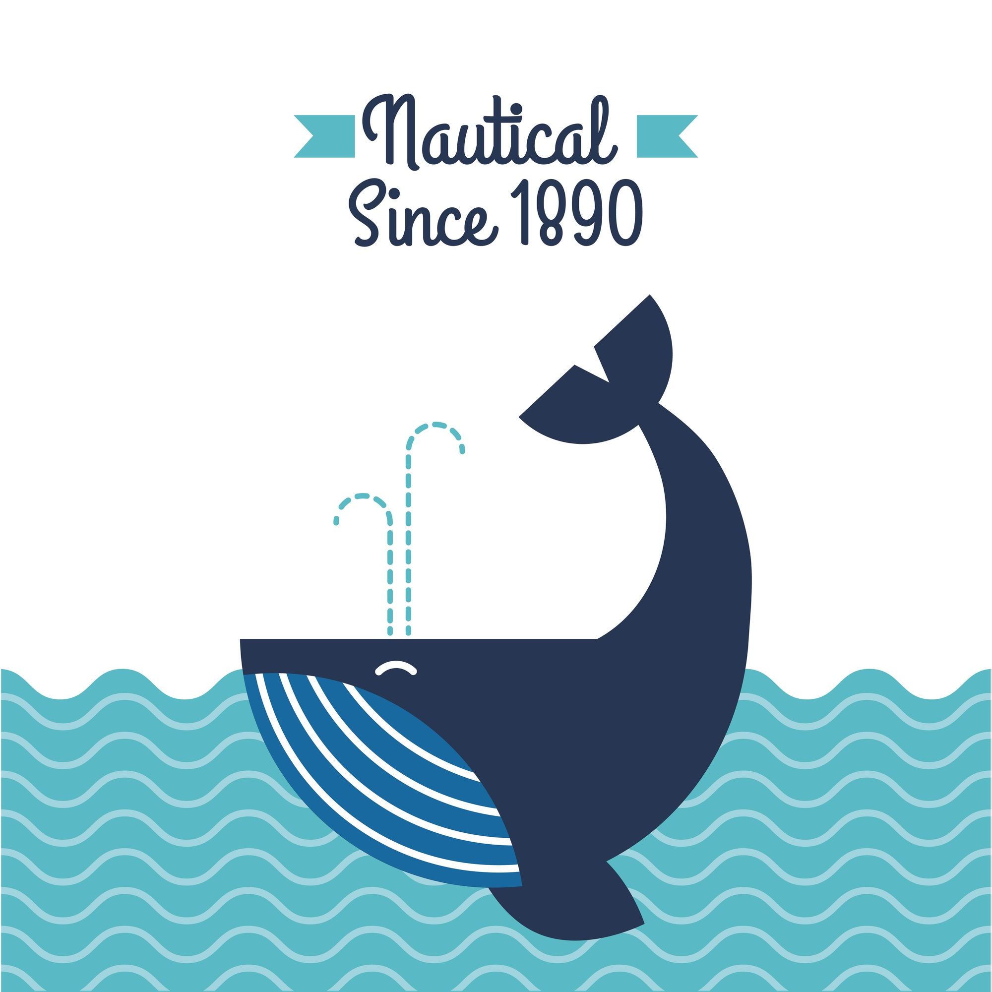 Nautical whale in ocean wildlife aquatic