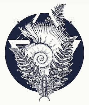 Nautilus shell prehistoric tattoo art