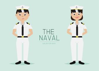 Naval Officer Uniform Cartoon Character.