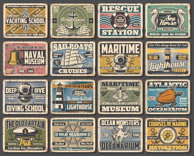 Naval ship museum, marine seafaring retro posters