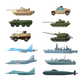 Naval vehicles, airplanes and different warships. illustrations of artillery, battle tanks and subma