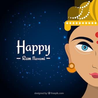 ラムnavamiのお祝いのための光沢のある形状とダークブルーの背景
