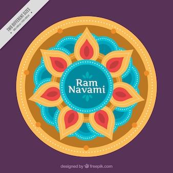 ラムnavamiのお祝いのためのラウンド曼荼羅の背景