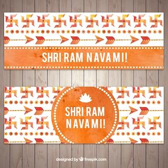 オレンジ色のトーンの要素を持つ偉大なラムnavamiバナー