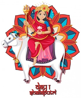 Navarati festival poster design with goddess and cow