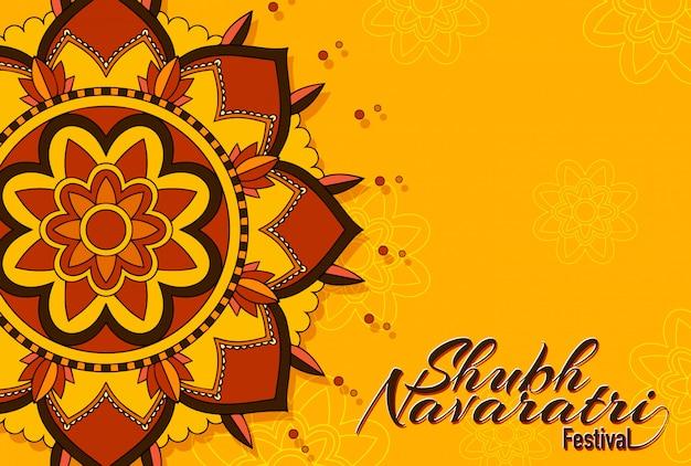 Navaratri festival greeting card with mandala