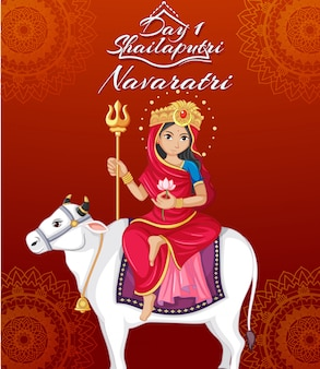 Navaratri poster with goddess