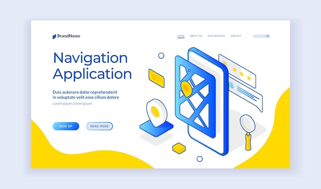 Navigation application. isometric web banner about navigation mobile software. smartphone app for global positioning and tracking system. landing page template