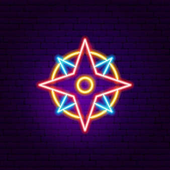 Navigation compass neon sign. vector illustration of outdoor promotion.