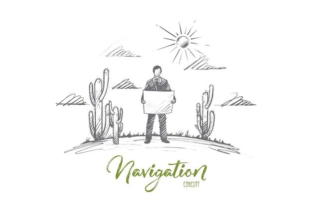 ナビゲーションの概念。地図を探索する手描きの旅行者。サボテンの孤立したイラストと砂漠の地図を持つ男。