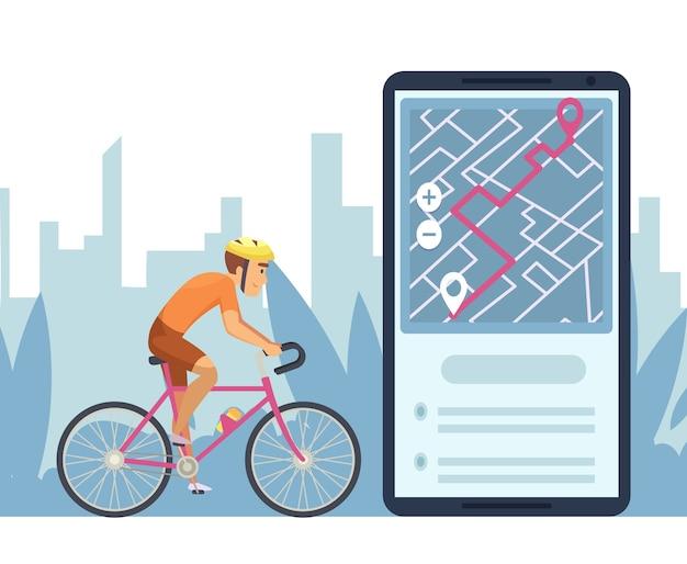 탐색 개념. 모바일 도시지도 탐색 앱. 온라인지도에 만화 캐릭터 자전거 타기
