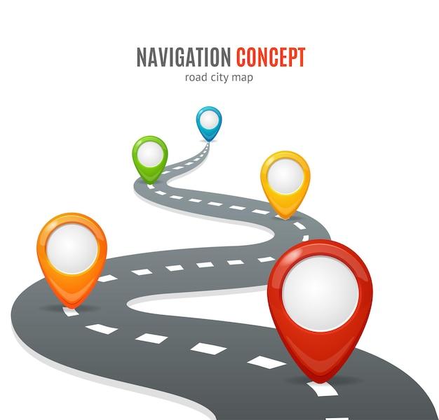 탐색 개념. 지도 핀 또는 마커가있는 도로.