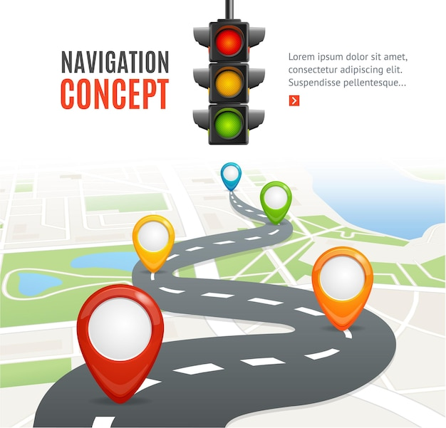 Navigation concept with traffic light and place for your text.