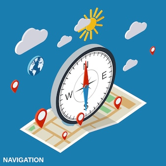 Navigation flat isometric vector concept illustration