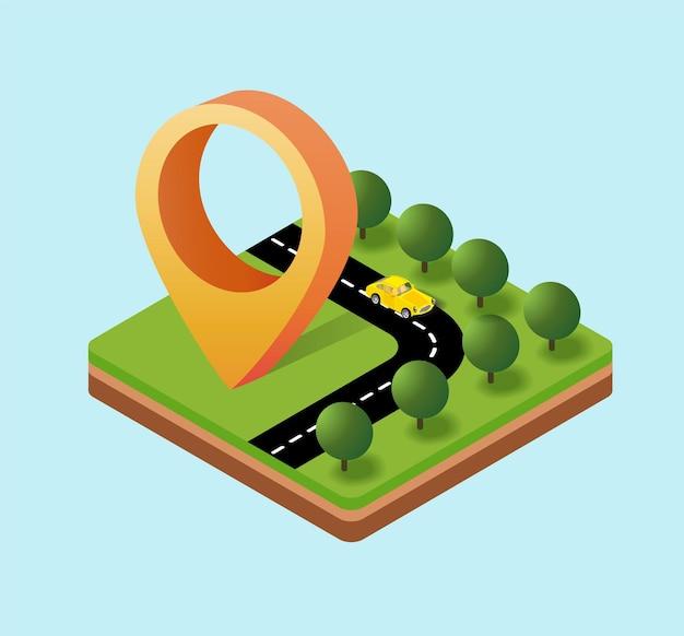 ナビゲーションアイコンのアイソメ図、ポインタの移動方向