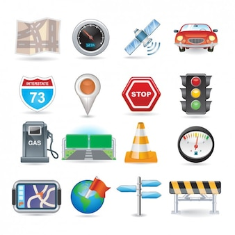 Navigation icon set Free Vector