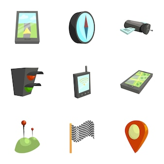 Navigation icons set, cartoon style