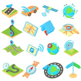 Navigation icons set in isometric 3d style style