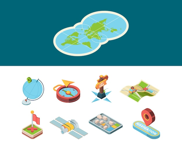 Navigation isometric icon. map road smart navigator and sign route direction boards compass and navigation methods vector set. isometric web location, marker 3d destination illustration