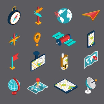 Navigation isometric icon set