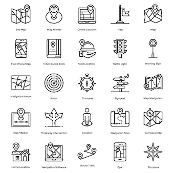 Navigation, map and direction line icons pack