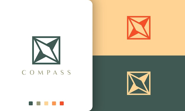 간단하고 독특한 나침반 모양의 탐색 또는 모험 로고 벡터 디자인