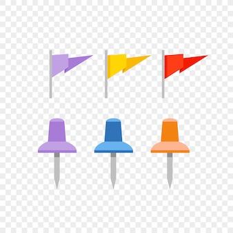 Навигационные булавки и флаги, изолированные на прозрачном фоне