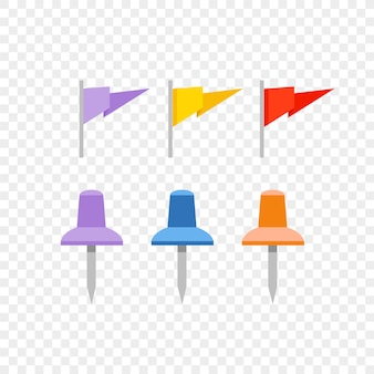 Navigation pins and flags isolated on transparent background
