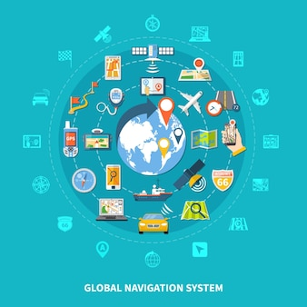 Navigation round composition with set of isolated emoji style global positioning icons colourful images and pictograms