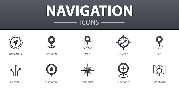 탐색 간단한 개념 아이콘을 설정합니다. 위치, 지도, gps, 방향 등과 같은 아이콘이 포함되어 있으며 웹, 로고, ui/ux에 사용할 수 있습니다.
