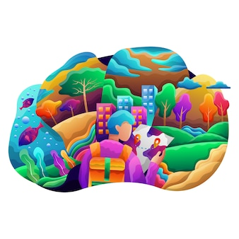 Navigation web flat illustration