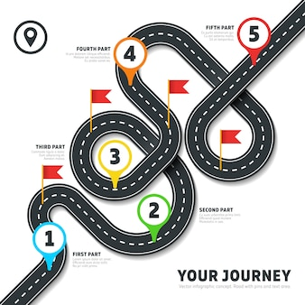 Navigation winding road way map infographic. roadmap business info, plan road map for business