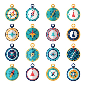 Navigational compass sailing orientation instrument icon flat set isolated vector illustration