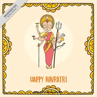 Navratri background with hand drawn durga