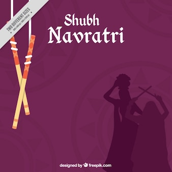 Navratri background with silhouettes