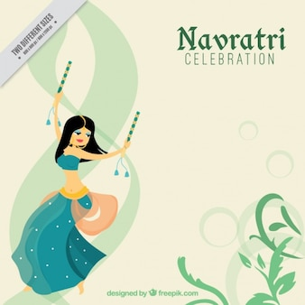 Navratri celebration background with dancing girl