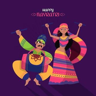 Navratri - dandiya dancers illustration