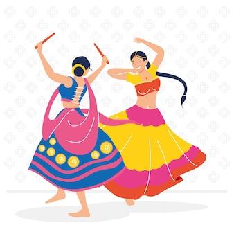 Navratri female dancers couple