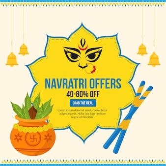 Navratri festival offers banner design template