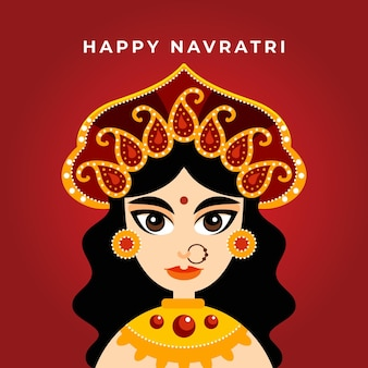 Navratri flat design background with goddess