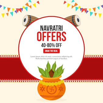 Navratri offers festival banner design template