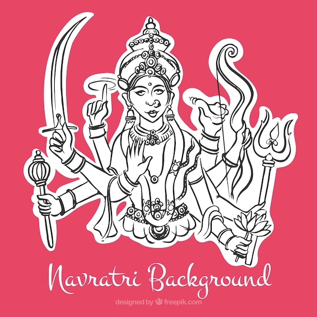 Navratri pink background with illustration of durga goddess