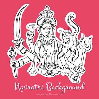 Navratri pink background with illustration of durga goddess