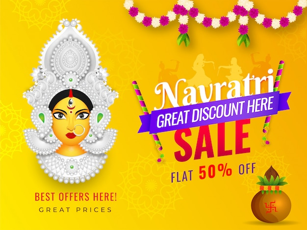 Navratri sale banner design with 50% discount offer and illustration of goddess durga face