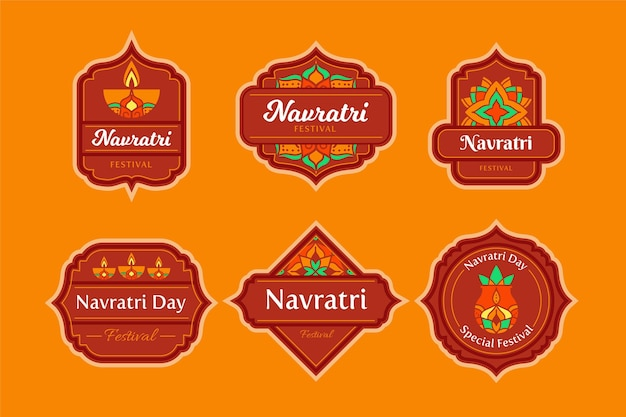 Navratri traditional labels pack