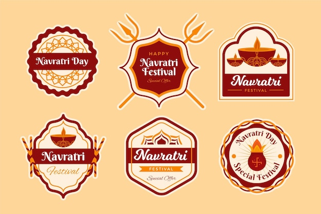 Navratri traditional labels set