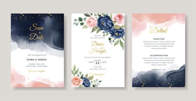 ネイビーとピーチの花の水彩画の結婚式の招待カード