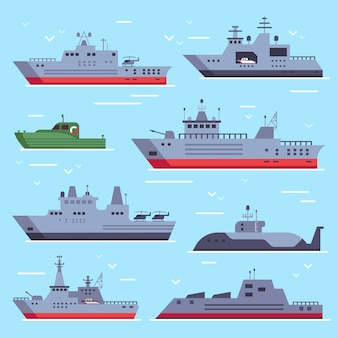 Navy battle ships, sea combat security boat and battleship weapon set